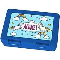 Preisvergleich für Brotdose mit Namen Achmet - Motiv Einhorn, Lunchbox mit Namen, Frühstücksdose Kunststoff lebensmittelecht