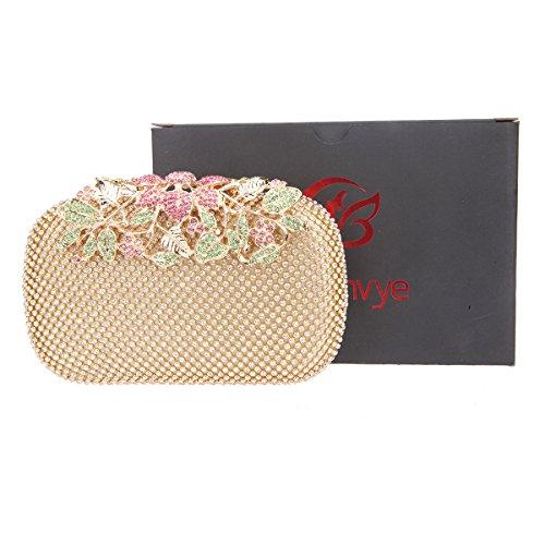 Bonjanvye Flower Purses with Crystal Rhinestones Evening Clutch Bags Red Multicolor