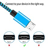 Micro USB Cables 2m/6.6ft Aioneus Android Cable (3 Pack) Nylon Braided USB Cable- for Samsung, Nexus, LG, Sony, HTC, Motorola, Kindle, PS4 Controller and More-Blue, Green, Orange