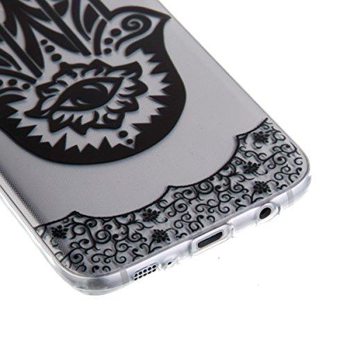 Ekakashop Transparente Flexible TPU Couqe pour Samsung Galaxy S7 Edge, Ultra Mince Doux Soft Silicone Protectrice Couverture Housse pour Galaxy S7 Edge, Motifs de Attrape Reve Cas Case Back Cover Defe Palm Fleur