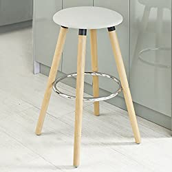 SoBuy® Taburete de bar con patas de madera de haya natural, FST39-W, ES