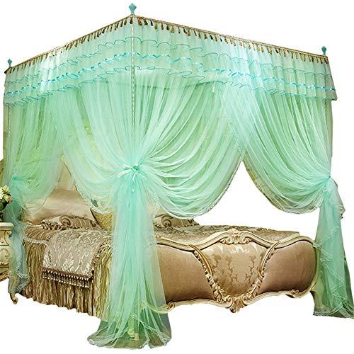AIMCAE Bettvorhang mit Himmel, Moskitonetz, Bett mit Himmel, für Erwachsene und Mädchen, Prinzessinnen-Design, Grün 200 * 220cm