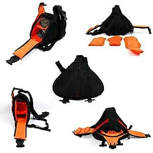 Petit sac à dos triangle pour appareil photo reflex Canon, Nikon, Fujifilm, Pentax Sony et plus – Noir / Orange – Multi-poches et séparateurs – Par DURAGADGET