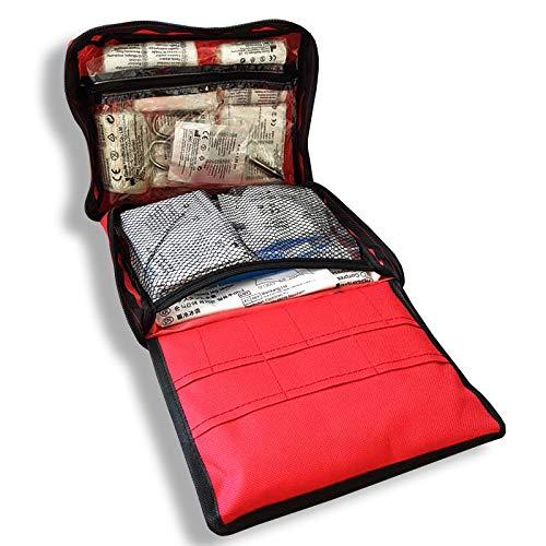 Erste Hilfe Tasche gefüllt   90-teiliges Erste Hilfe Set mit Verbandsmaterial, Pflastern, Rettungsdecke UVM   Für Reise, Outdoor, Wandern, Auto, Zuhause   22x17x5 cm -