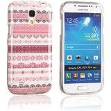 tinxi® Design Schutzhülle für Samsung Galaxy S4 mini Hülle TPU Silikon Rückschale Schutz Hülle Silicon Case Cover pink Blumen und Rund