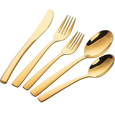 Buyer Star Gold Besteckset, Edelstahl Besteck Service für 1, Geschirr Messer Gabel Löffel Teelöffel, PVD 18/0 Hochglanzpoliert