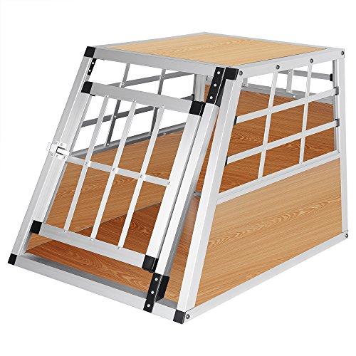Hundebox Hundetransportbox Aluminium Transportbox Alubox Hund 1 Türig Reisebox Gitterbox Helles Holzdekor HT2012hei