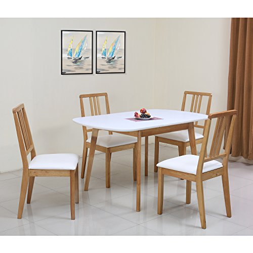 @home by nilkamal Four Seater Dining Table Set (Polished Finish, White)