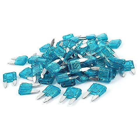 SODIAL(R) 15A 15 Amp Auto Voiture Motorcyclette Mini Lame Fusible Bleu 60 Pieces