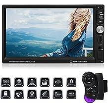 Favoto 7 pulgadas 2 din reproductor multimedia MP5 HD 1080p pantalla táctil Bluetooth FM radio estéreo USB/ SD/ AUX entrada para coche universal 12V con remoto control