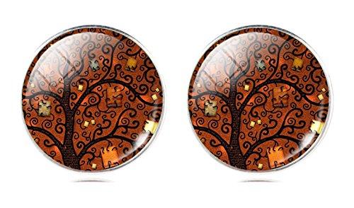 Orecchini artistici, tema: albero, orecchini a lobo con farfalla posteriore, per orecchie forate, lega di zinco, colore: Orange, cod. na