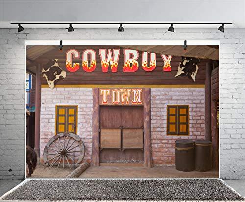OERJU 3x2m Western View Hintergrund Cowboy-Stadt Holzhaus Rad Fass Rindsleder Fotografie Hintergrund Party Menschen Porträt Party Banner Dekor Produkt Requisiten (1. Geburtstag Cowboy-thema)