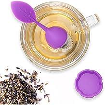 Teami Blends, Infusore a cucchiaio per il tè, con filtro in acciaio, manico in silicone a forma di foglia, con vaschetta raccogligocce Purple