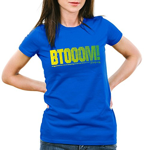 CottonCloud BTOOOM! T-Shirt da donna manga anime, Colore:blu;Dimensione:2XL