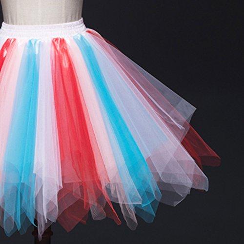 Feoya Damen Kurz Retro Petticoat Rock Ballett Blase 50er Tutu Unterrock Tütü Abschlussball Tanzkleid Party Minirock Tüllrock Rot+Weiß+Blau+Rosa