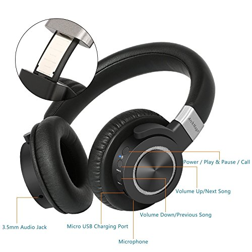 High Clarity Wireless Headphones, Over Ear Bluetooth 4.2 with Aptx Lossless Low Latency Audio, HiFi Sound, Perfect for TV iPhone iPad iPod Laptop, Longer 50 Hour Battery, Included Carrying Case