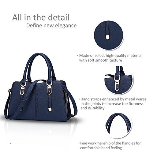 NICOLE&DORIS Donne borsa alla moda del messaggero della borsa della spalla del Tote casuale del lavoro sacchetto impermeabile Satchel rosso blu navy