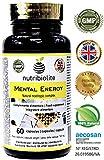 Mental Energy | Nootrópico Natural Potenciador Cognitivo, Incrementa tu Concentración, Memoria y Motivación, Extractos de Plantas + Aminoácidos + Fosfolípidos, Vegano, Sin Gluten y Sin Sulfitos