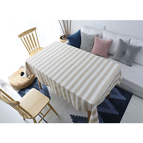 Blau Seite Reine Baumwolle Tischdecke gestreift–Europa Design Rechteck Esstisch Cover 61x 61cm, baumwolle, cremefarben, 55 x 63 inch