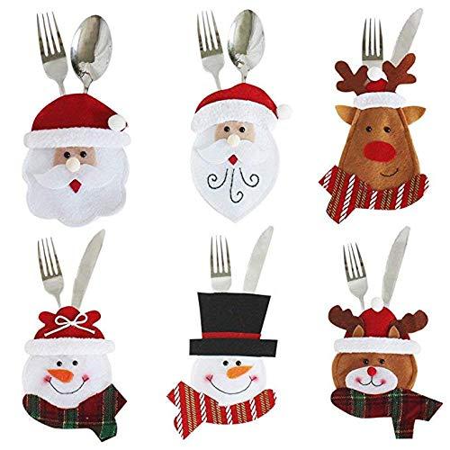 ABREOME Weihnachten Tischdeko Bestecktasche Besteckbeutel Besteckhalter mit Schneemann Weihnachtsmann Elch Kleidung Besteck Sets für Weihnachtsfeier Dekoration Weihnachtsgeschenk(6 Stück)