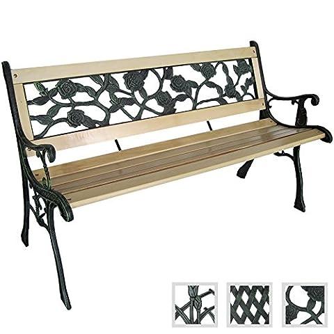 Miadomodo 3 Seater Wooden Outdoor Garden Bench With Rose Design