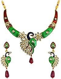 Touchstone Indian Bollywood Peacock Kundan/Polki Meenakari White Diamante Jewelry Necklace Set For Women