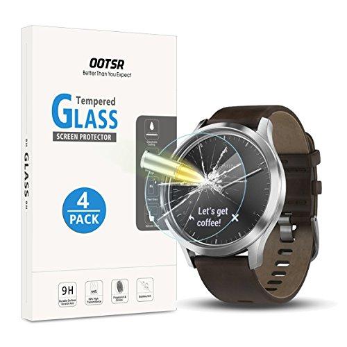 OOTSR (4 Stück) Schutzfolie für Garmin Vivomove HR, Panzerglas Bildschirmschutzfolie für Garmin Vivomove HR Folie [9H Härte] [Kratzfest] [Einfache Installation]