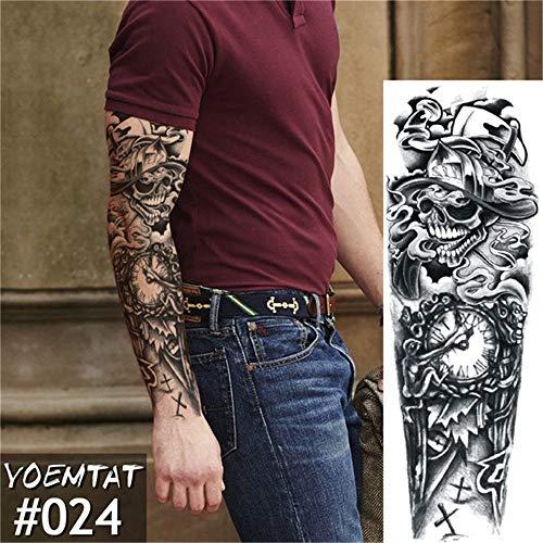 Tzxdbh 5pcs-large manicotto del braccio del tatuaggio maori power totem impermeabile autoadesivo del tatuaggio temporaneo warrior samurai angelo skull uomini full black tatoo 5pcs-