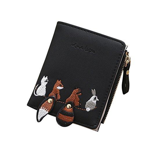 Kurze Brieftasche Niedlichen Tiere Stickerei Leder Geldbörse Designer Kreditkarteninhaber Clutch Brieftasche Inhaber Fall mit Reißverschluss Münzfach (Schwarz) (Geldbörse Inhaber Fall)