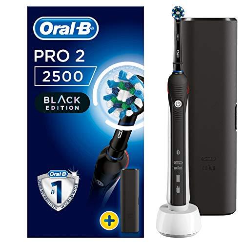 Oral-B PRO 2 2500 CrossAction Cepillo Eléctrico Recargable, 1 Negro Mango, 2 Modos Incluido Cuidado Encías, 1 Cabezales Recambio