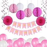 Geburtstag Party Dekoration Set, Bliqniq 40x Deko Zubehör Happy Birthday Banner Grilande mit Seiden Wabenbälle Papierfächer Luftballons Spiralen für Kindergerburtstagsfeier, Leicht zusammen Legen