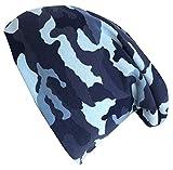 Wollhuhn Öko Jungen/Mädchen Camouflage blau Long Beanie Ganzjährig Innen Uni Grau (aus Öko-Stoffen, Bio) 20180905, Größe L: KU 54/56 (darüber/Erwachsene)