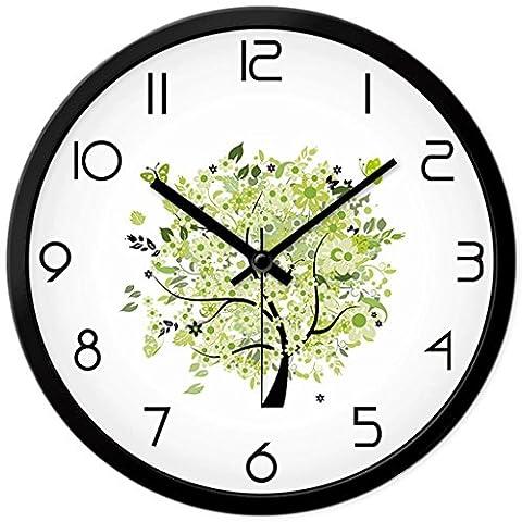 Metal Wall Clock Hanging Table Fresh Green Tree Illustration Modern Home Decoration Round Quartz Clock ( Size : 12IN