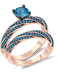 Silvernshine 2.35Ct Round Aquamarine CZ Diamond 18K RoseGold PL 7-Row Engagement Bridal Ring Set