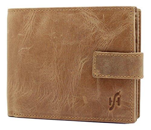 StarHide Männer RFID Blockierung Zweifach Echtes Gebeiztes Leder Geldbörse Mit Großem Reißverschluss Münztasche Tasche - ID-Kartentasche und Kreditkartenhalter - 1180 (Hellbraun) (Tan Aktentasche Leder)