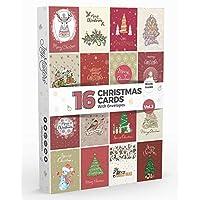 16 x Christmas Cards by Joy MastersTM Vol.3 | Seasonal Assorted with Envelopes Bulk Xmas Cards Boxed Set
