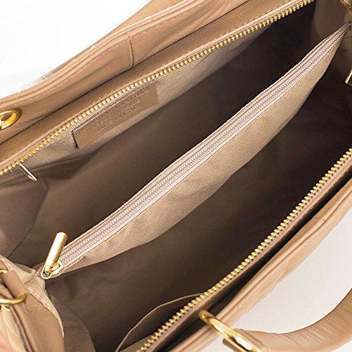 CHARMEL Borsa a mano trapuntata Tote Shopper con manici e tracolla removibile catena oro chiaro pelle liscia tortora chiaro