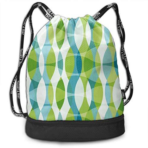 Multipurpose Drawstring Bag for Men & Women, Geometric Oval Shapes Elliptic Vertical Curves Nature Theme Pattern,Tote Sack Large Storage Sackpack for Gym Travel Hiking