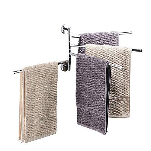 Aktivität drehbar Handtuch Rack, bigwinner drehbar Handtuchhalter Badezimmer Küche drehbar Handtuch Bar mit extra lang 4Bars Drehgelenk Bars Wand/Edelstahl (Handtuchhalter Drehbarer)