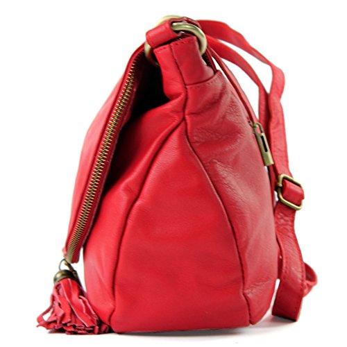 modamoda de - ital. Ledertasche Damentasche Schultertasche Umhängetasche Nappaleder T40 Rot