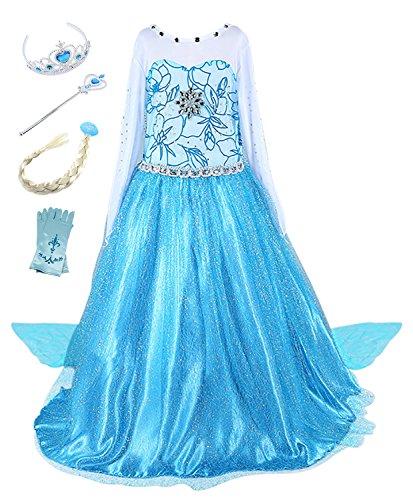 faschingskostuem eiskoenigin elsa FStory&Winyee Kinder Eiskönigin ELSA Cosplay Kostüm Mädchen Prinzessin Blau Kleid Karneval Party Verkleidung Halloween Fest