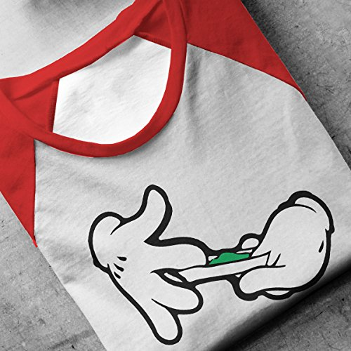 Disney Mickey Mouse Hands Rolling A Joint Men's Baseball Long Sleeved T-Shirt White/Red