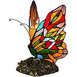 Mariposa Làmpara de mesa de noche con pantalla en vidrio soldado lavoraciòn Tiffany