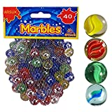 Cat\'s Eye Marbles, Glass Marbles, Comes in a bag, Protection against damage, Sports Toys & Outdoor By ARSUK (40pcs Colour Marbles)