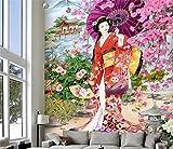 Tapete Fototapete Hintergrund-Tapeten 3D Tapeten 3D Fototapete Benutzerdefinierte Mural Wohnzimmer Kirschbaum Japanische Schönheit Malerei Tv Hintergrund Vlies Tapete, 150 * 105 Cm