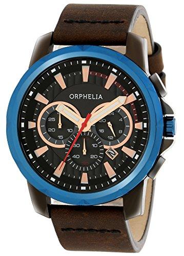 Orphelia - 81501 - Montre Homme - Quartz - Chronographe - Chronomètre - Aiguilles - Luminescent - Bracelet cuir Marron