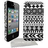 Love My Case Coque rigide avec motif géométrique pour Apple iPhone 4 et 4S Avec protection d'écran et chiffon de nettoyage (Noir/blanc)