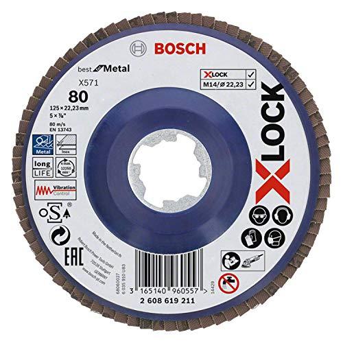 Bosch Professional Best - Disco de láminas recto para metales, X-LOCK, X571, Ø125 mm, grano K80...