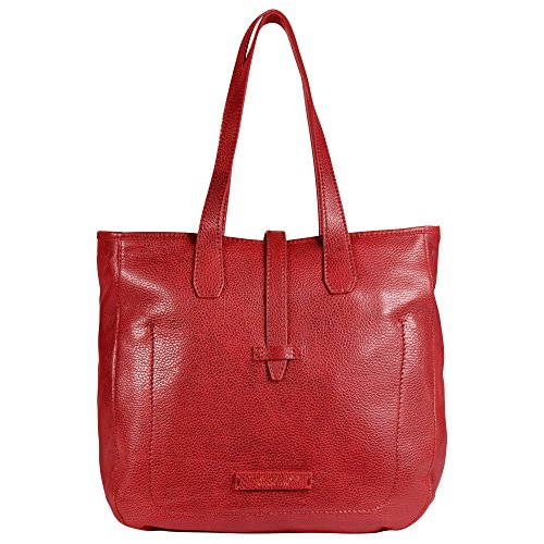 The Bridge Plume Soft Donna Shopper cuir 18 cm rosso ribes