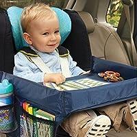 Bandeja de almacenamiento para asiento de coche infantil con soporte para juguetes, escritorio, cochecito, mesa impermeable.